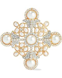 Kenneth Jay Lane Gold-tone, Faux Pearl And Crystal Brooch - Metallic