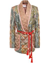 Peter Pilotto - Double-breasted Belted Quilted Brocade Jacket Gold - Lyst