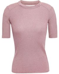 Ba&sh Zoe Metallic Ribbed-knit Top Antique Rose - Pink