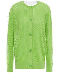 MM6 by Maison Martin Margiela Panelled Pointelle-knit Cotton-blend Cardigan Light Green