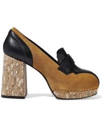 Opening Ceremony - Leather-paneled Suede Platform Pumps - Lyst