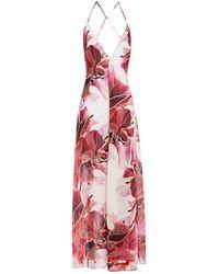La Perla Embroidered Tulle-trimmed Printed Silk-blend Chiffon Jumpsuit - Multicolour