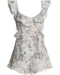 Zimmermann - Jasper Cutout Ruffled Broderie Anglaise Cotton Playsuit Light Green - Lyst