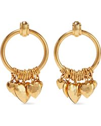 Elizabeth Cole - Woman Burnished Gold-tone Hoop Earrings Gold - Lyst