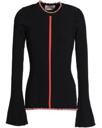 ROKSANDA - Ruffle-trimmed Ribbed-knit Jumper - Lyst