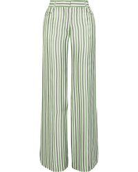 Sonia Rykiel - Woman Striped Poplin Wide-leg Trousers Sage Green Size 34 - Lyst