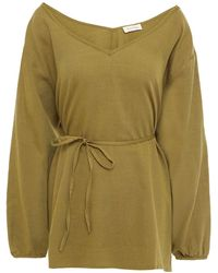 American Vintage Belted Cotton And Wool-bend Twill Top - Green