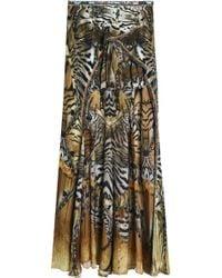 Camilla - Asymmetric Printed Silk Crepe De Chine Skirt - Lyst