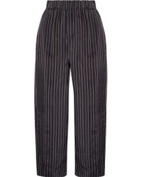 Vince - Cropped Striped Satin Straight-leg Trousers Dark Brown - Lyst
