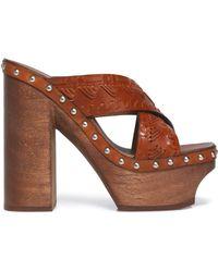 Roberto Cavalli - Studded Woven Leather Platform Mules - Lyst