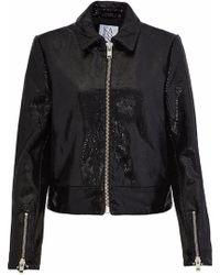 Zoe Karssen Coated Snake-effect Leather Jacket Black