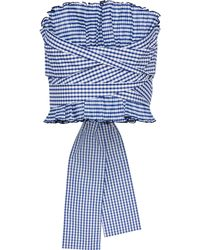 ADEAM Strapless Tie-back Pleated Gingham Shell Top Navy - Blue