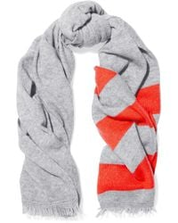 Duffy - Fringed Striped Wool And Cashmere-blend Scarf - Lyst