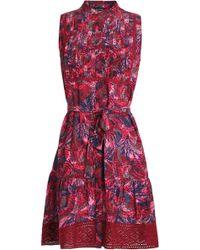 Saloni - Belted Printed Silk Crepe De Chine Mini Dress - Lyst