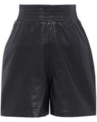 Walter Baker Milo Shirred Leather Shorts - Black