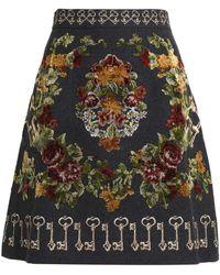 Dolce & Gabbana - Embroidered Wool-blend Skirt - Lyst
