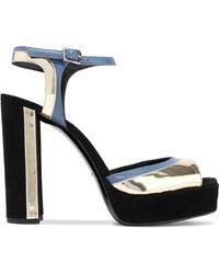 Lanvin - Suede, Matte And Mirrored-leather Platform Sandals Black - Lyst
