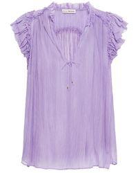 Ulla Johnson Clea Ruffled Silk-georgette Top Lavender - Purple