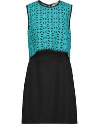 MSGM Cutout Layered Crochet-knit And Crepe Mini Dress - Black