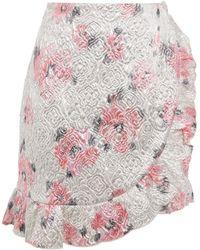 ALEXACHUNG Wrap-effect Ruffle-trimmed Brocade Mini Skirt - Metallic