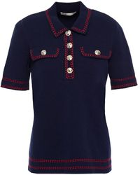 Maje Misla Embroidered Cotton Polo Shirt - Blue