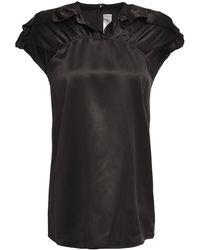 Victoria, Victoria Beckham - Gathered Ruffle-trimmed Silk-satin Top - Lyst