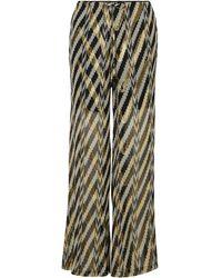 Figue Printed Metallic Fil Coupé Silk-blend Wide-leg Trousers - Black