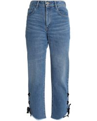 Maje - Lace-up Faded High-rise Straight-leg Jeans - Lyst