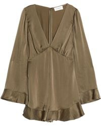 Zimmermann - Pleated Washed-silk Playsuit Army Green - Lyst