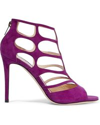 Jimmy Choo Ren 100 Cutout Suede Sandals Purple