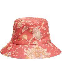 Zimmermann Printed Linen Bucket Hat Papaya - Multicolor