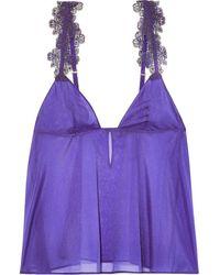 La Perla English rose embroidered tulle-trimmed stretch-silk chiffon camisole - Lila