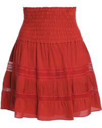 A.L.C. - Striped Smocked Silk-crepe Mini Skirt - Lyst