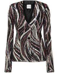 Halpern Sequined Tulle Jacket - Black