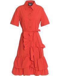 Boutique Moschino - Ruffle-trimmed Cotton-blend Poplin Dress - Lyst