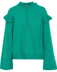 Joie - Pammeli Ruffle-trimmed Wool And Cashmere-blend Hoodie - Lyst