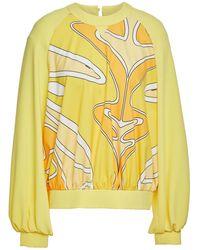 Sara Battaglia Gathered Printed Crepe Top - Yellow