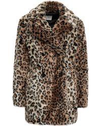 Joie Double-breasted Leopard-print Faux Fur Coat Animal Print - Multicolour