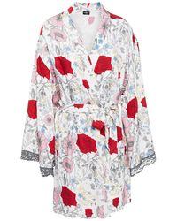 Cosabella Lace-trimmed Floral-print Twill Robe Ecru - Multicolour