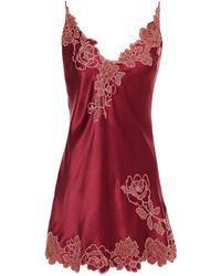 Carine Gilson Nachthemd Aus Seidensatin Mit Besatz Aus Chantilly-spitze - Rot