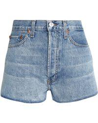 RE/DONE - Faded Denim Shorts Light Denim - Lyst