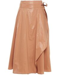 Gestuz Coated Cotton-poplin Midi Skirt - Brown