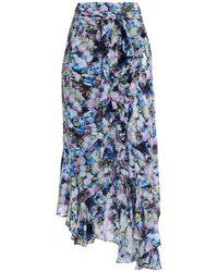 Preen Line Daria Asymmetric Floral-print Crepe De Chine Midi Wrap Skirt - Blue