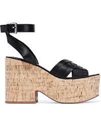 Sigerson Morrison Becca Leather Platform Sandals Black