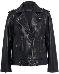 Muubaa Emilia Leather Biker Jacket - Black