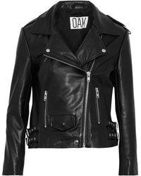 OAK Ny Rider Leather Biker Jacket Black