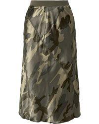 ATM Camouflage-print Silk-satin Skirt Army Green