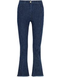 Etro - Cropped Paisley-detailed High-rise Bootcut Jeans Dark Denim - Lyst