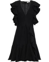 Sandro Ruffled Plissé Satin-crepe Mini Dress Black