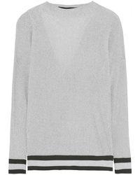 Roland Mouret Sandres Cutout Draped Metallic Ribbed-knit Top Größe S